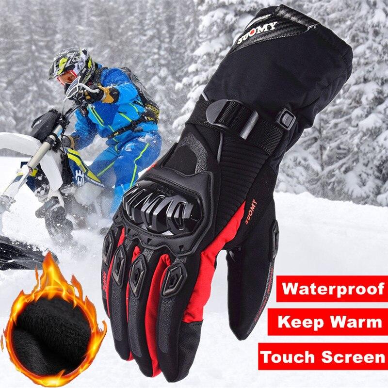 Зимние теплые Мотоциклетные Перчатки Suomy 2018, 100% водонепроницаемые ветрозащитные перчатки, мотоциклетные перчатки с сенсорным экраном, Мото...