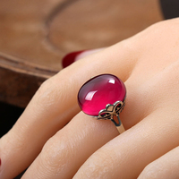 High quality Natural Semi precious Stones 925 sterling silver retro girls rings hollow red Corundum Female jewelry lovers gift