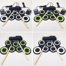 Foldable Silicone Electronic Drum Pad Kit With DrumSticks Foot Pedal