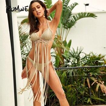 Romwe спортивный бежевый Boho бикини набор преувеличенный бахрома Холтер Топ с низкой посадкой галстук сбоку купальник женский летний сексуаль...