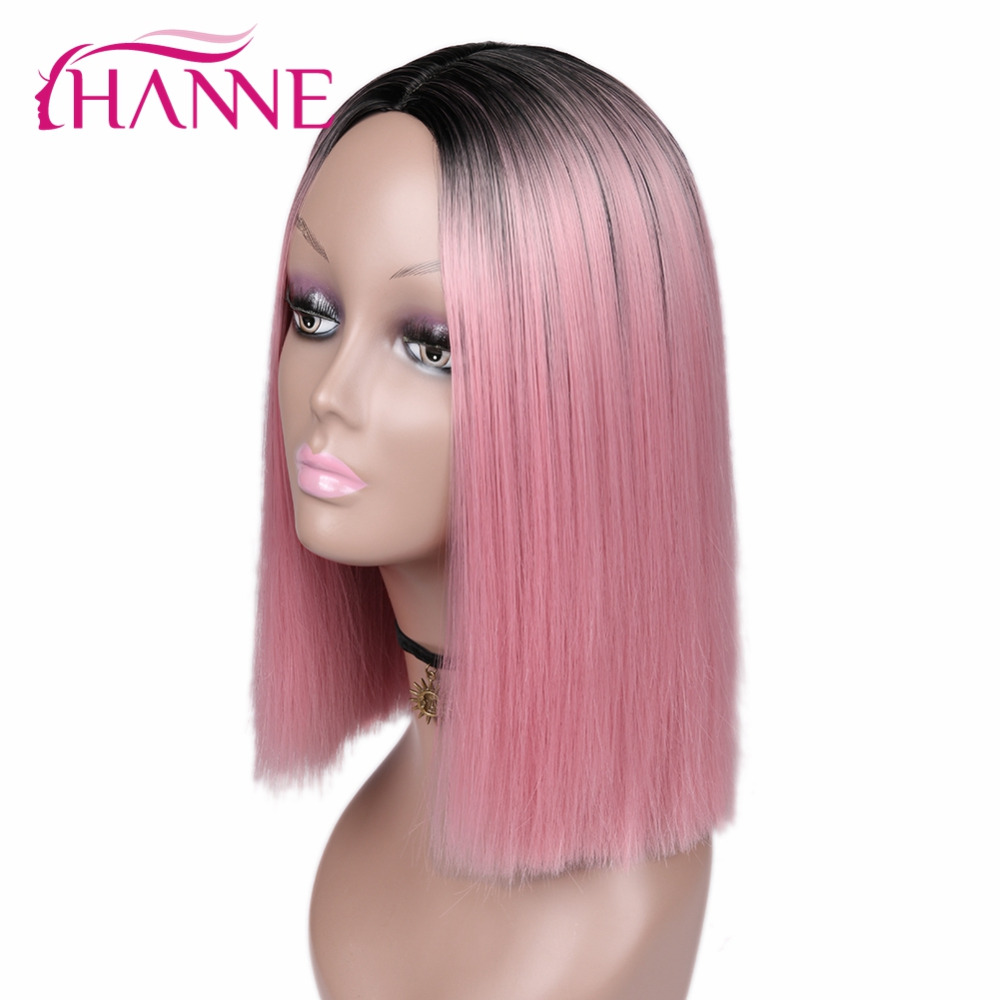 HANNE Pink Bob Wigs Short Haircut Shoulder-length High Temperature Fiber Ombre Synthetic Wig For Black/White Women Daywear/Party