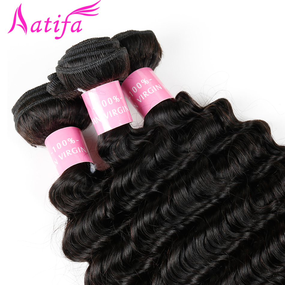Malaysian Deep Wave Hair 1/3/4 pcs Bundles de tissage de cheveux - Cheveux humains (noir) - Photo 3