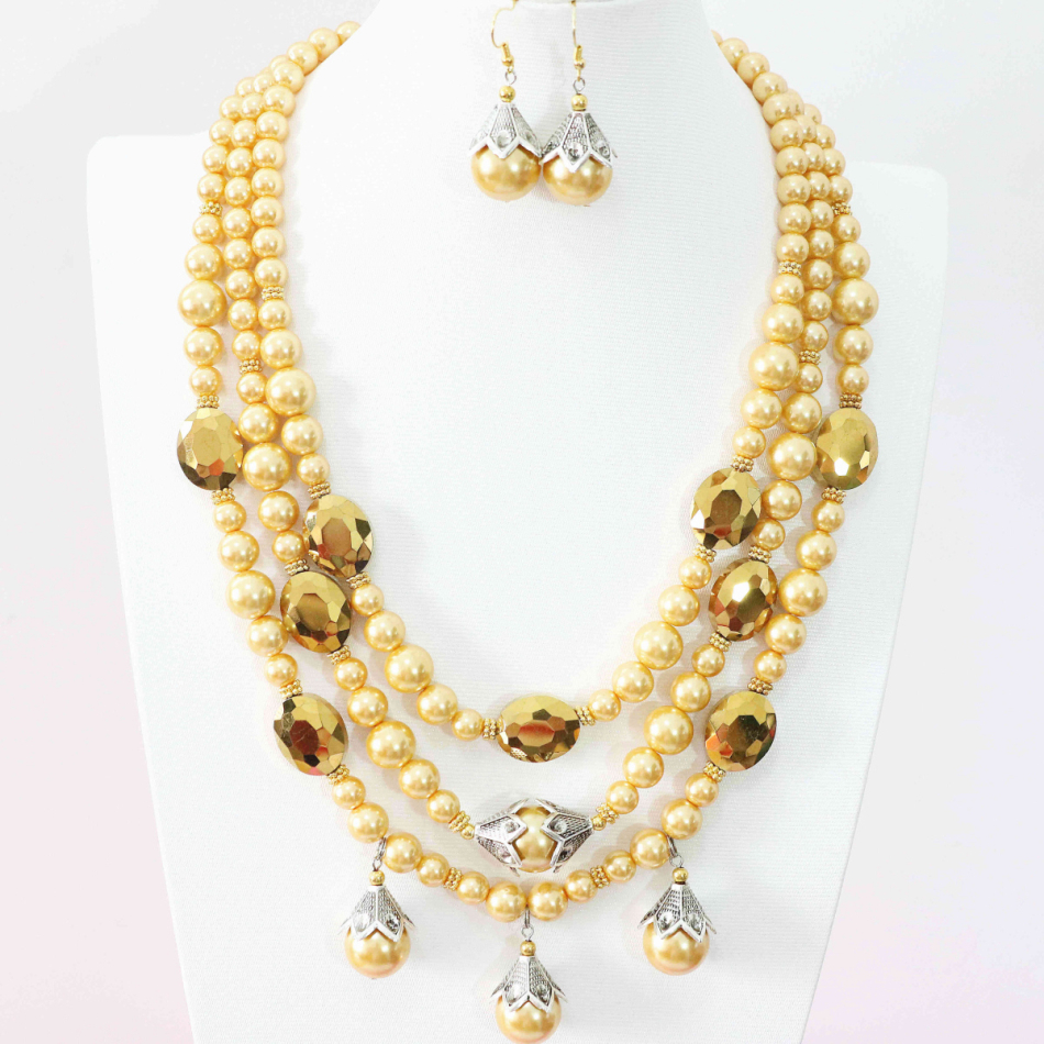 High quality 3row necklace earring for women gold yellow shell faux pearl beads wedding anniversary jewelry set 19-22.5inch B995