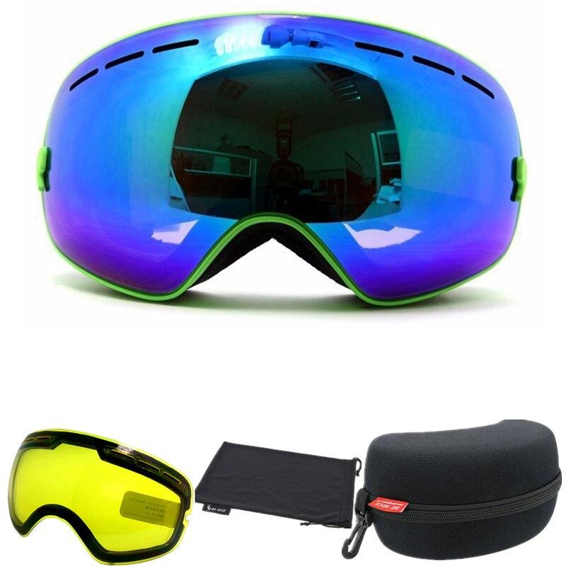 Prix pour Benice marque snowboard lunettes avec box Night Vision Objectif professionnel double anti brouillard grand sphérique lentille motocross ski lunettes