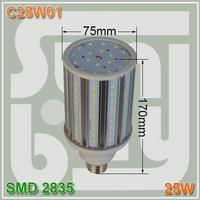 Free shipping Aluminum corn light 25W 360 degree E27 SMD2835 LED bulb lamp 25W corn light two years waranty