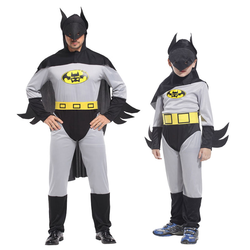 Umorden Batman Cosplay Bat Man Superhero Costume Christmas New Year Halloween Party Fantasia Fancy Jumpsuit for Men Boys Family