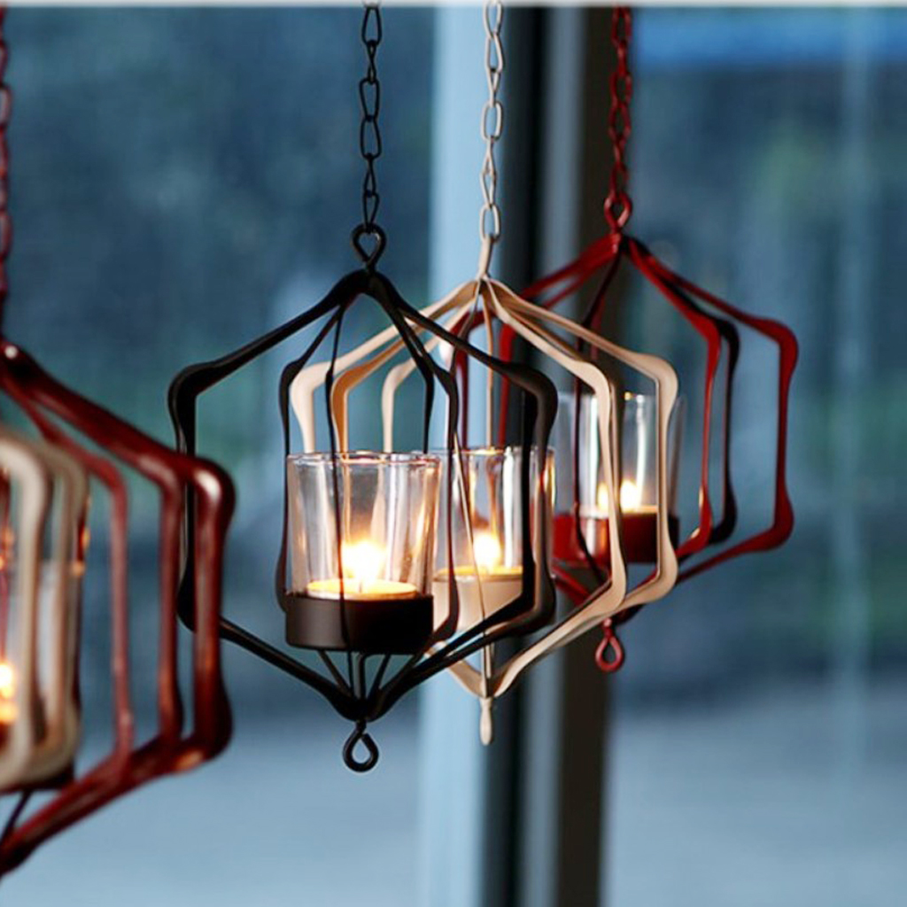 3D Iron Chain Hanging Candle Holder Candelabrum Lantern