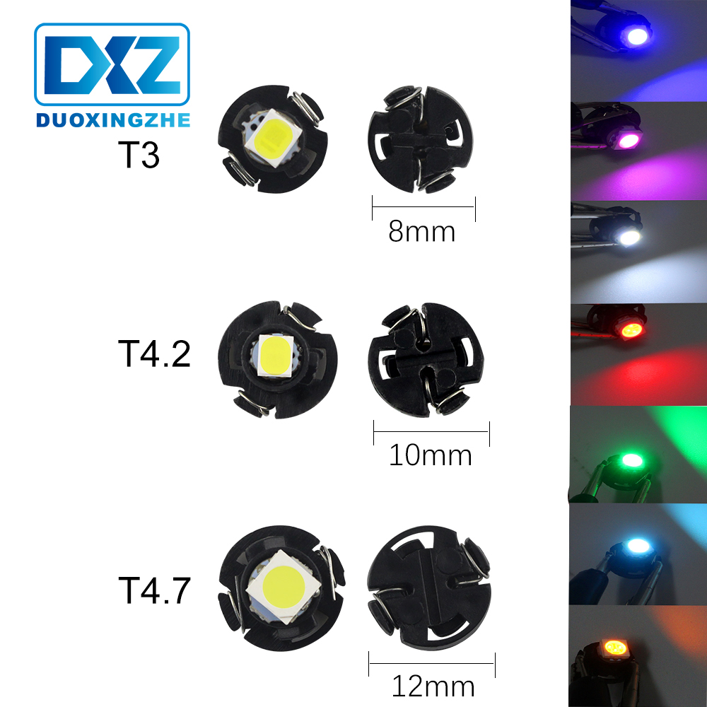 DXZ 1X <font><b>T3</b></font> T4.2 T4.7 Car LED Instrument Light 1 SMD <font><b>12V</b></font> Wedge Dashboard Warning Indicator Lamp Instrument Cluster Light 5050 1210 image