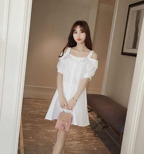 Mr.nut 2019 spring and summer new sweet college wind strapless neck collar loose thin A word strap dress