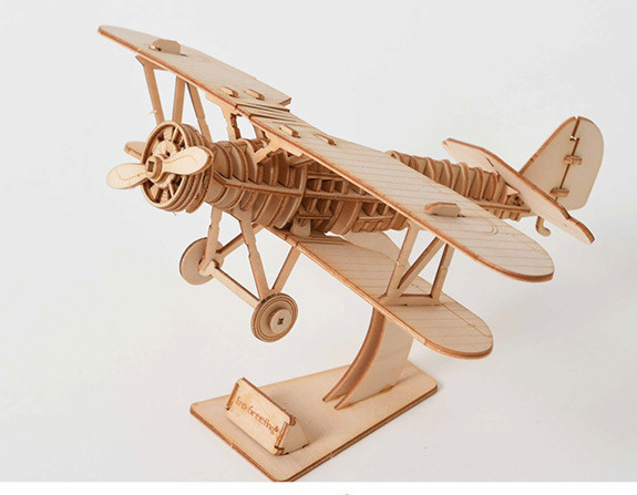 DIY Biplane Drone Airplane Clock Car Toys 3D Wooden Puzzle Toy Assembly Model Wood Craft Kits Desk Decoration For Children Kids