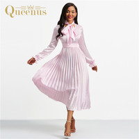 robe femme ete 2018 retro pleated maxi dresses women summer dress pink empire long sleeve a line long dress vestidos plus size
