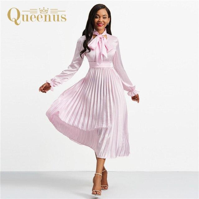 677f73d4093 robe femme ete 2019 retro pleated maxi dresses women summer dress pink  empire long sleeve a line long dress vestidos plus size