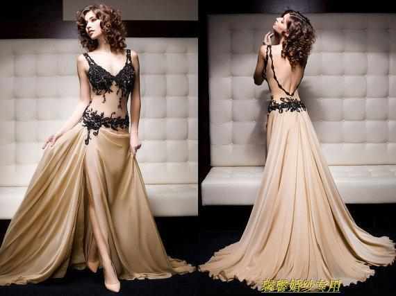 Free Shipping New Design Party Gown Vestido De Festa Robe De Soiree Backless Champagne Long Appliques Mother Of The Bride Dress