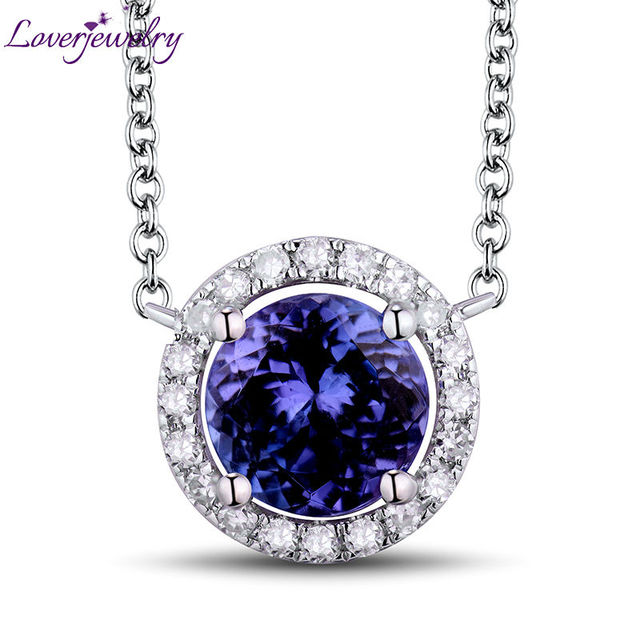 Loverjewelry solid 18kt white gold natural diamond tanzanite loverjewelry solid 18kt white gold natural diamond tanzanite pendant necklace including chain for women wedding mozeypictures Choice Image