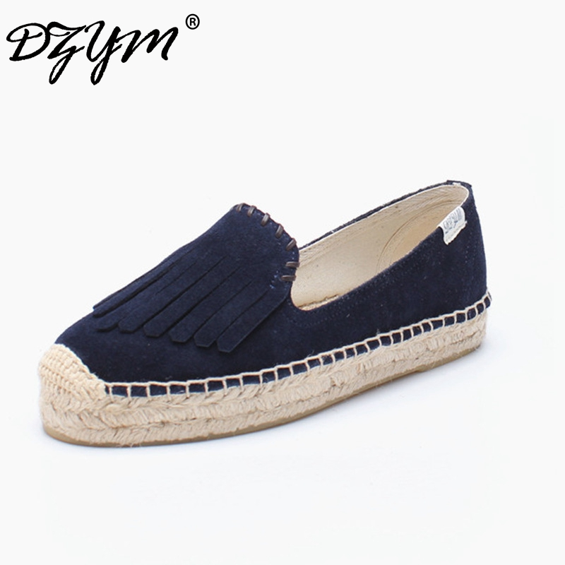 DZYM 2018 Top Quality Fashion Design Canvas Espadrille Cow Suede Women Flats Platform Tassels Loafers Fringe Sapato Feminino цена