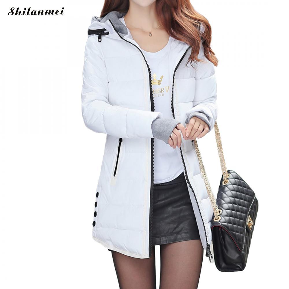 2018 Women Winter Hooded Warm Coat Slim Plus Size Candy Color Cotton Padded Basic Jacket Female Medium-Long Jaqueta Feminina