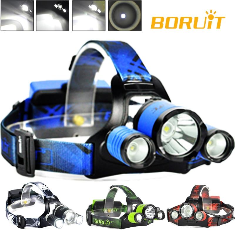 BORUiT B21 High Power LED Headlight RED BLUE GREEN Black Color Beam Head Torch LED Headlamp Cree XM-L2+2xXPE Headlamp