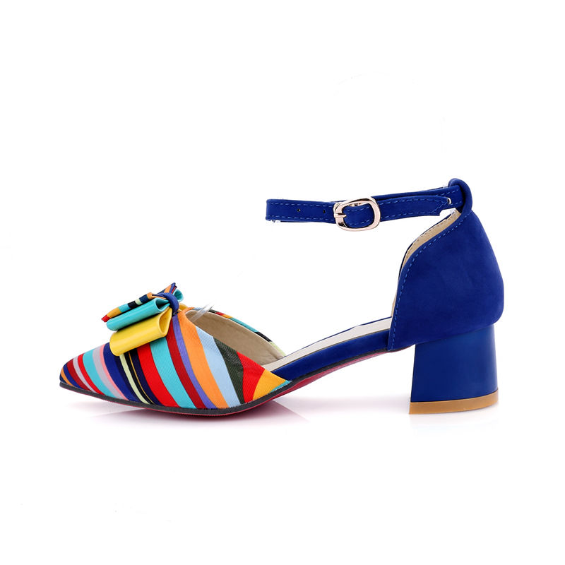 49368480533b50 ... Sandals Heels Med 33 Women Party Bow Shoes Karinluna Colorful New Size  Date Fashion Chunky 43 ...