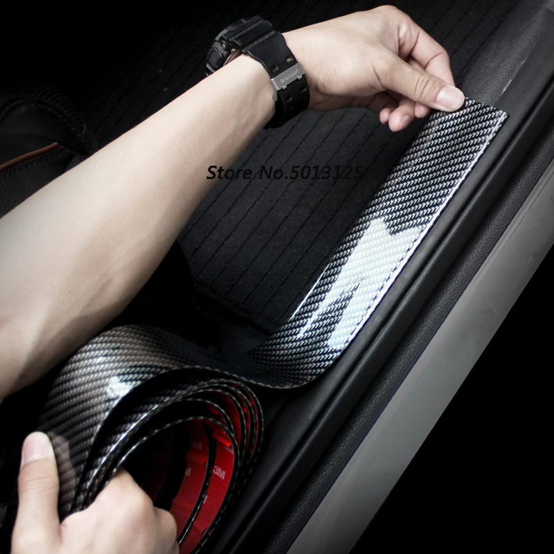 Car Styings Car Door Threshold Crash Strip Carbon Fiber Sticker For <font><b>Toyota</b></font> <font><b>rav4</b></font> 2017 <font><b>2018</b></font> 2019 Car <font><b>Accessories</b></font> image