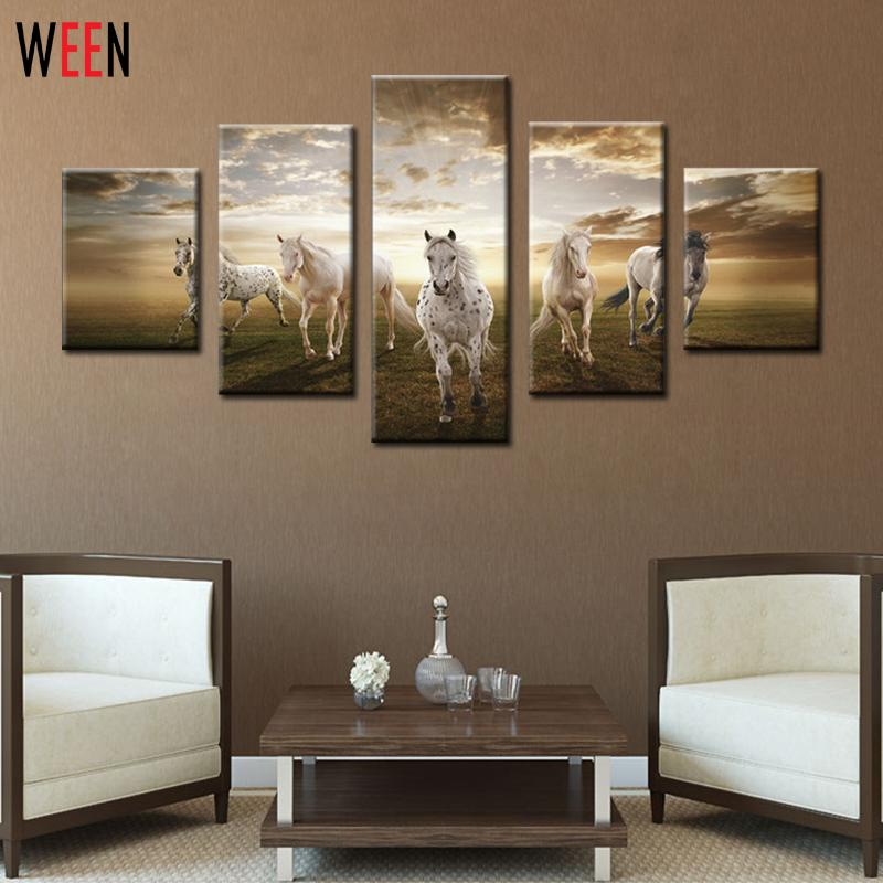 5 Panel Five Running Horses Art Pictures Cuadros