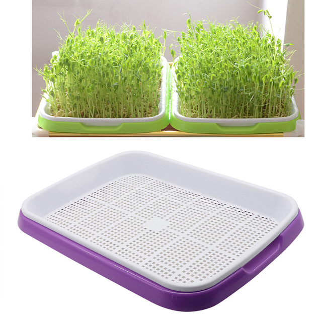 Hydroponics Seedling Tray Double Layer Sprout Plate Hydroponics System To Grow Nursery Pots Tray Vegetable Seedling Pot 3 Sets