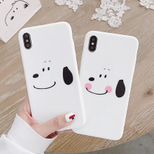 Cartoon Dog matte phone Case For iPhone 7 8 Plus Cases Ultra Thin white cute dog iphone 6 s 6s X XR XS max case
