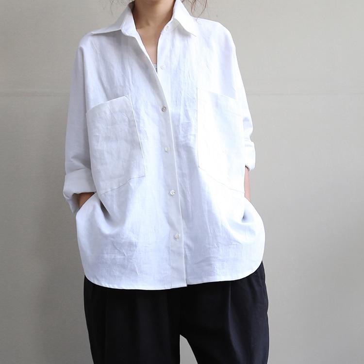 Grande Mode Longues D'été Lin Lap Lâche Chemise Taille blanc Top Manches Art Noir À Dames De Hauts Femmes En rZBqrwC