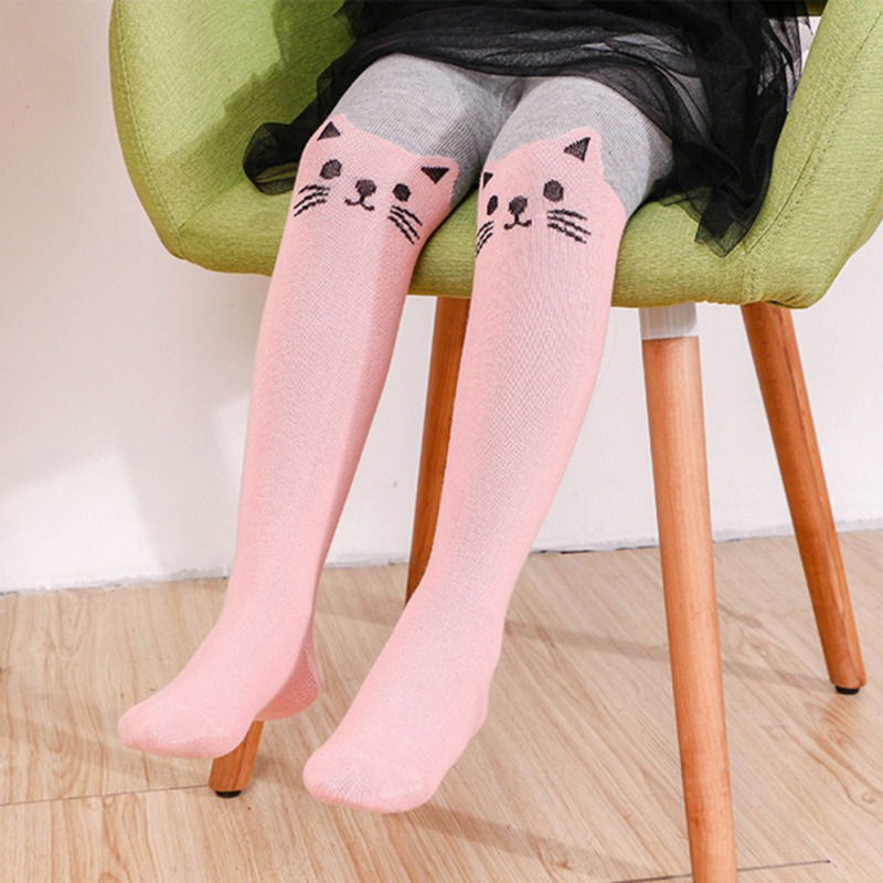 Children Tights For Baby Girls Lovely Cat Print Cotton Pantyhose Tights Stockings For Girls Dance Tights 0-3Y