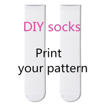 factory Exclusive customization 3D Printing Pattern Art Socks Women Fashion DIY Funny  Cotton Free shipping 5D00