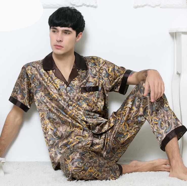 c14eccdefd Online Shop New Fashion Blue Men s Silk Satin Pajamas Shirts+ Pants 2PCS  Sleepwear Lounge Home Wear Pajama Set Free Shipping L XL XXL 0409