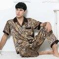 Nueva Moda Azul de Satén de Seda de Los Hombres T-shirts + Pants 2 UNIDS ropa de Dormir salón Homewear Pijama Fijó El Envío Libre L XL XXL 0409
