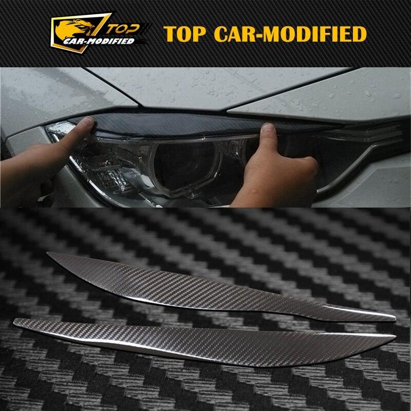 100% Real Carbon Fiber Headlights Eyebrows Eyelids for BMW F30 320i 325i 316i Front Headlamp Eyebrows 3 series accessories free shipping carbon fiber headlight covers eyelids eyebrows fit for mazda 6 vi ruiyi 09 13