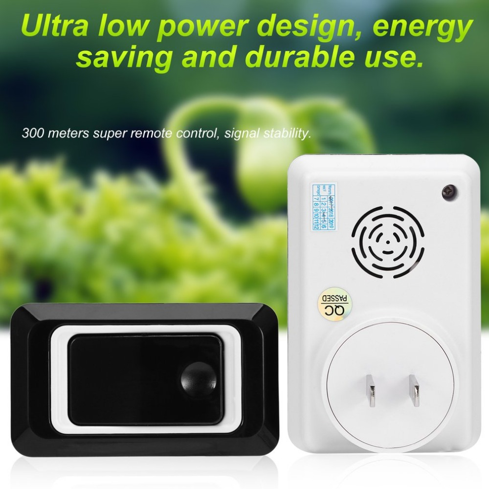 New TS-K108W11 Simple Design Home Wireless Door Bell Doorbell Energy Saving Adjustable Sound Volume Door Bell Black US/EU/UKNew TS-K108W11 Simple Design Home Wireless Door Bell Doorbell Energy Saving Adjustable Sound Volume Door Bell Black US/EU/UK