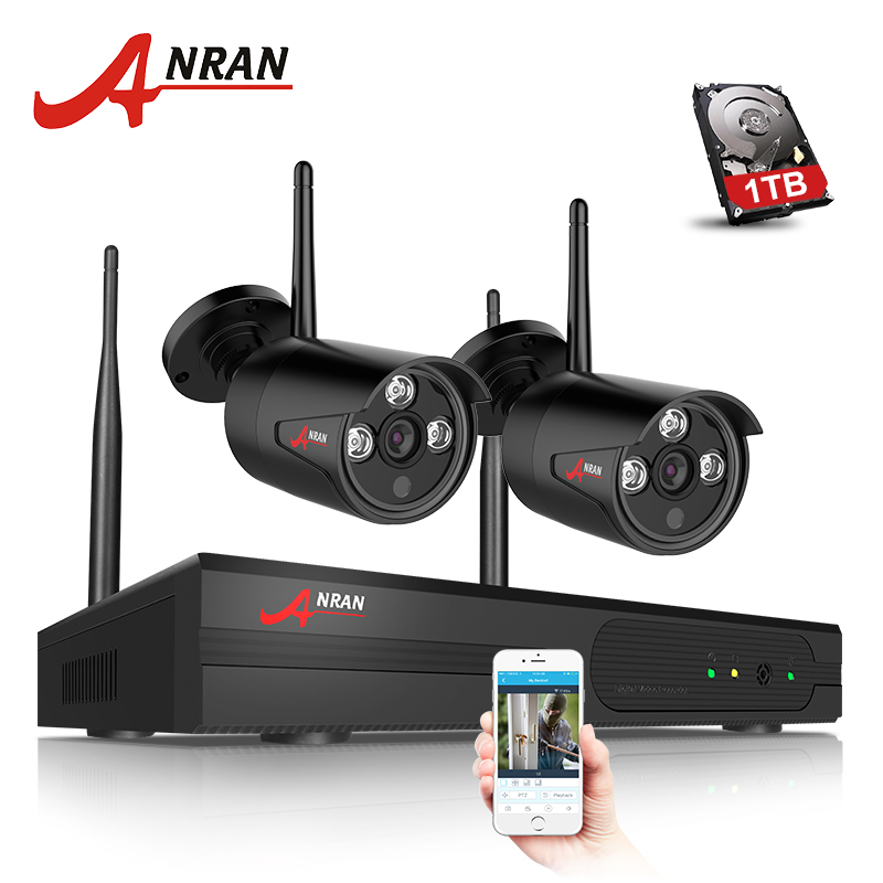 ANRAN And Play 4CH CCTV System Wireless NVR Kit P2P Cloud View 2pcs 720P HD Outdoor IR Home Security Surveillance WIFI IP Camera  anran plug and play 4ch security camera system wireless nvr kit p2p 720p hd outdoor ir night vision cctv ip camera system