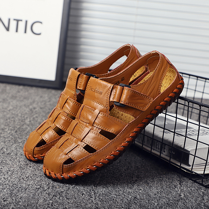Walking Sandals Footwear Casual-Shoes Male Breathable Genuine-Cow-Leather Summer Flat