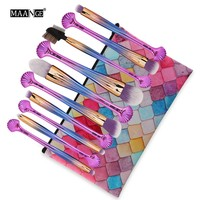 MAANGE 10 Pcs Shell Handle Makeup Brushes PU Bag Set Power Foundation Eyeshadow Beauty Essential Cosmetic