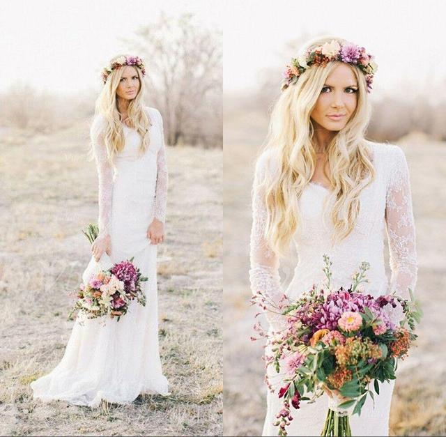 2017 Romantic Boho Lace Cheap Beach Wedding Dresses Long