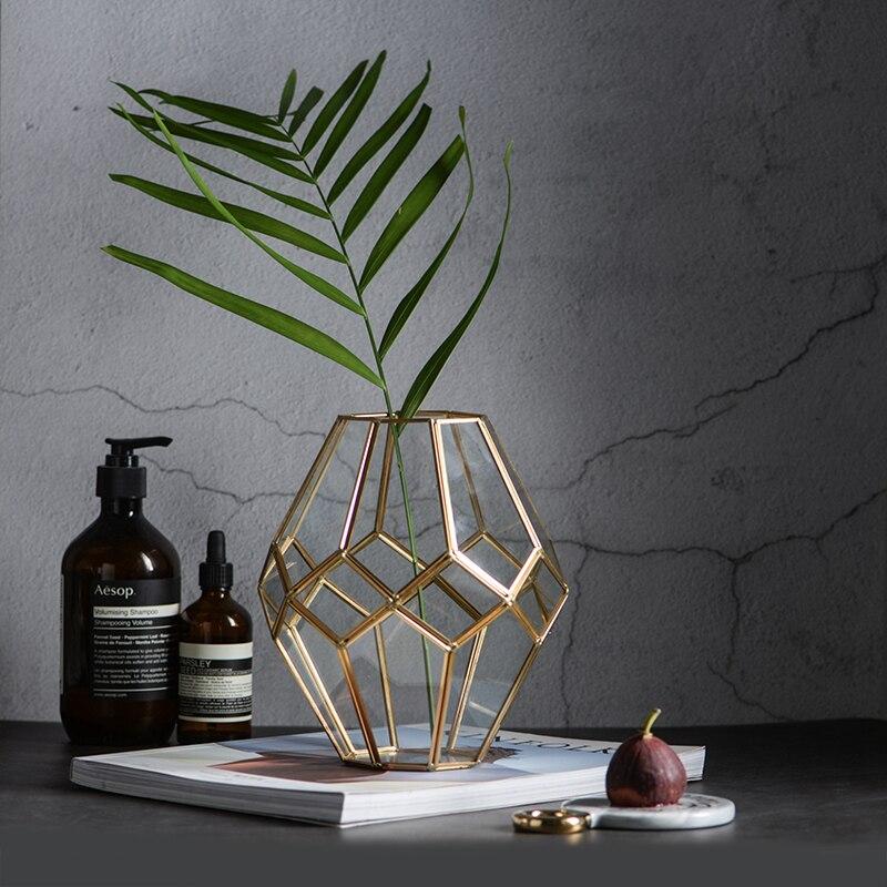 Vase géométrique nordique rétro vase en verre doré verre terrarium vases de mariage pour décorations de table vases à fleurs décoration de la maison