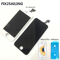 FIX2SAILING 100% Grade AAA LCD Display Touch Screen Digitizer Assembly Replacement For Apple iPhone 5S +Glass Film +Adhesive
