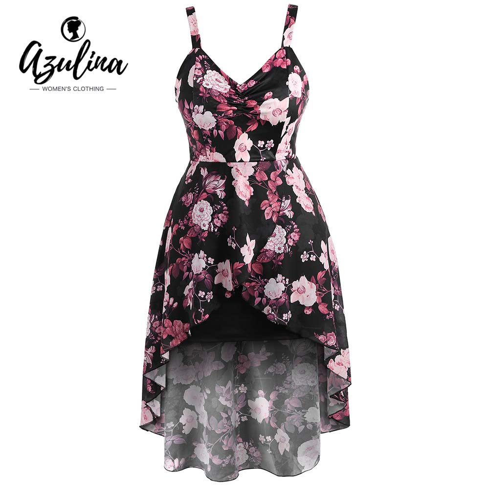 afc06a4b81012 Detail Feedback Questions about AZULINA Plus Size Print High Low Dress  Women Sweetheart Neck Sleeveless Asymmetrical Cami Dress Elegant Party  Dresses ...