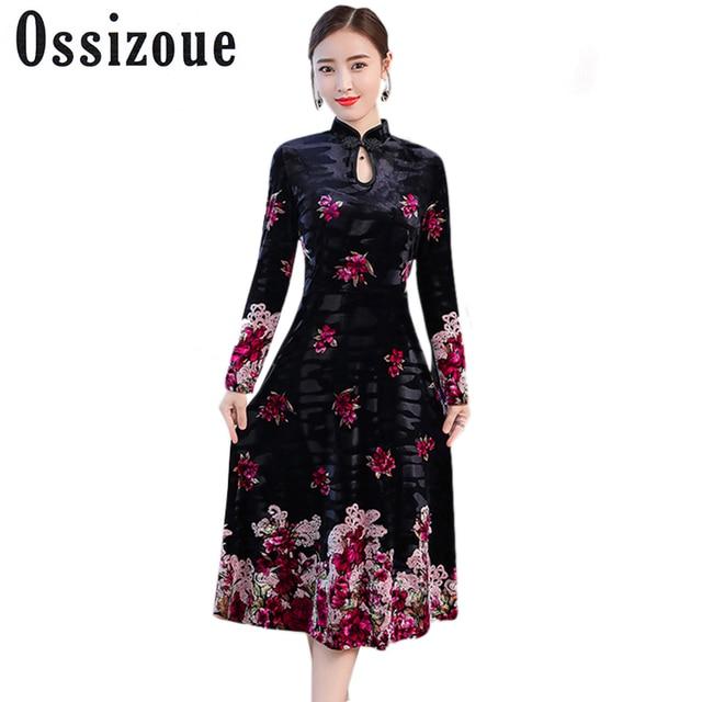 8138aa64fccb4 Plus Size 4XL Sexy New 2018 Autumn Winter Ethnic Dress Blue Vintage  Cheongsam Women Dress Velvet Print Hollow Out Floral Dresses
