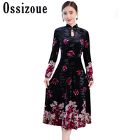 Plus Size 4XL Sexy New 2018 Autumn Winter Ethnic Dress Blue Vintage Cheongsam Women Dress Velvet Print Hollow Out Floral Dresses