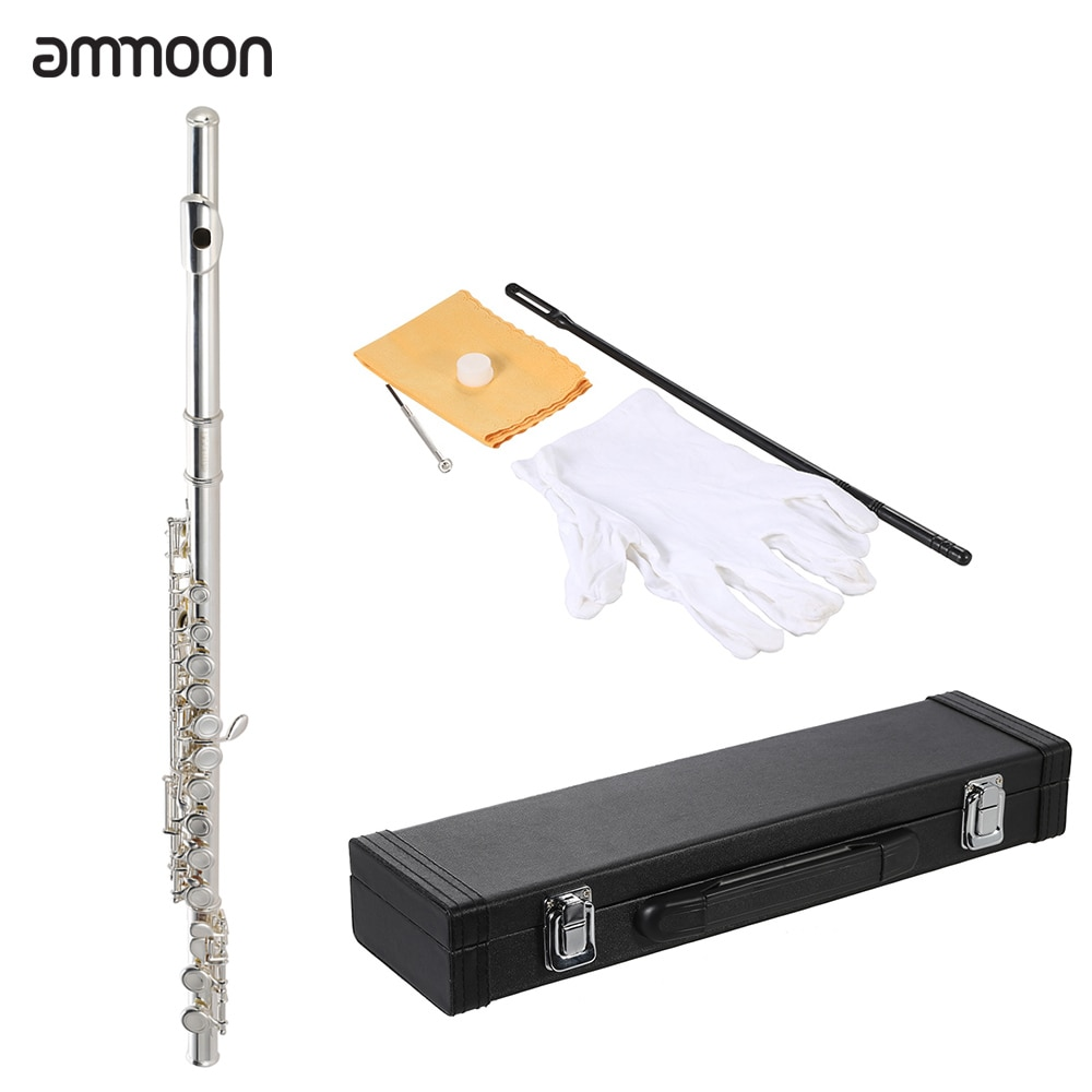 ammoon High Quality Flute Cupronickel Silver Plated 16 Closed Holes C Key with Case Screwdriver Wind