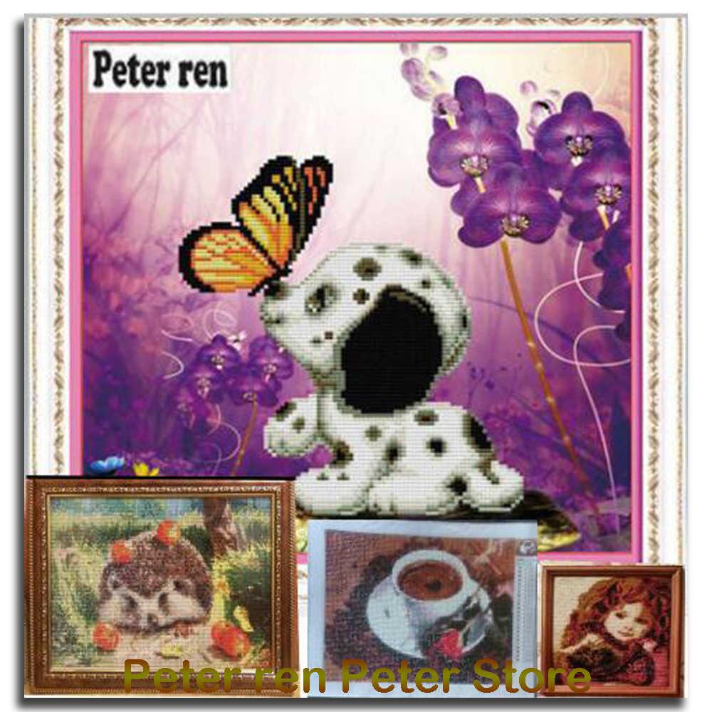 Питер Рен изображение собаки из страз DIY Алмазная вышивка Померанская 5D Круглая Мозаика полные картины по номерам стразы серый щенок