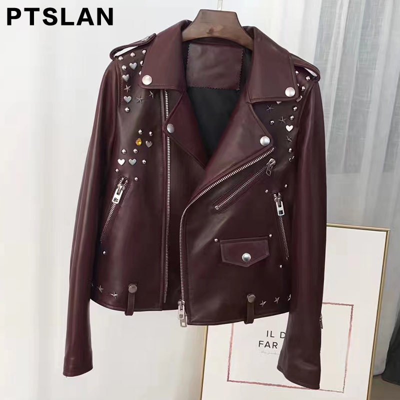 Ptslan Women Real Leather Jacket Short Streetwear Coat Fashion Spring Autumn Women Overcoat motocycle Jackets P2899