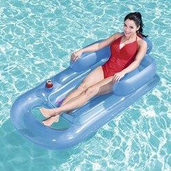 Новый надувной лежак для воды с подлокотником, плавающее кольцо для плавания, Двойная подушка, 8 слов, надувная водная кровать, вечерние басс...