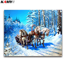 full round diamond embroidery winter 5D diy diamond painting cross stitch crystal three horse in snow landscape Diamond mosaic(China)