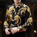2016 Mens Ver A Través de Camisas Ropa Del Patrón Del Tigre de Oro Transparente Chemise Homme Camisas De Seda Barroco Marca Luxe Vestido Real