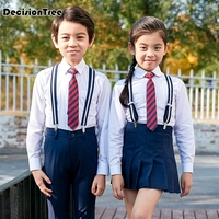 2019 new children navy blue cotton japanese student school uniforms set suit for girls boys waistcoat vest shirt skirt shorts