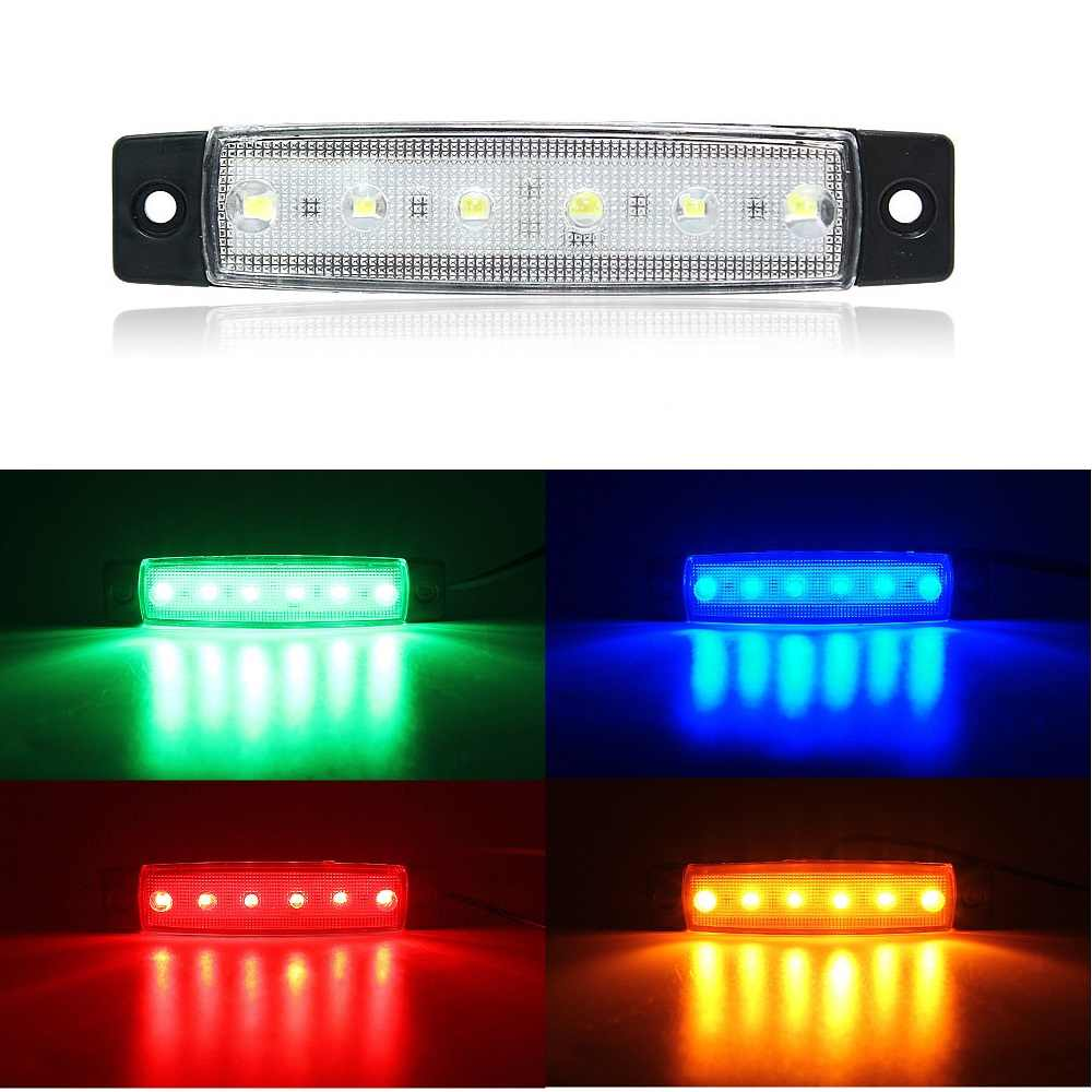 ANBLUB LED Car External Light 12V 24V 6 LEDs Auto Bus Truck Lorry Side Marker Lamp Rear Warning Light Indicator Light